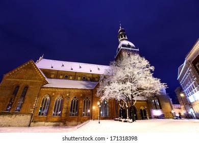 Riga cathedral at Dome square in Old Riga, Latvia at winter night