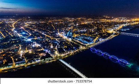 Riga city night Drone Air photo
