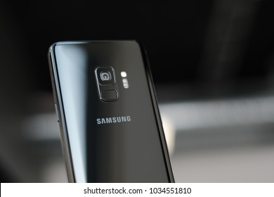 RIGA, FEBRUARY 2018 - A newely launched Samsung Galaxy S9 smartphone is displayed for editorial purposes