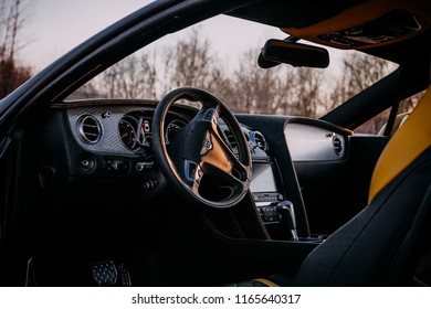 Riga, Latvia 04.19.2018. :Bentley Continental GT interior with sunshine.