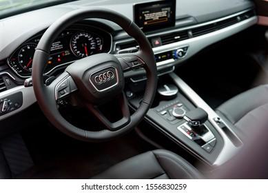 Riga / Latvia - 08.21.2019: Interior of  brand new Audi A4 sedan with black leather seats.