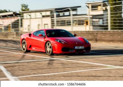 Riga, Latvia - 08.22.2019: Ferrari F430 on track in Riga