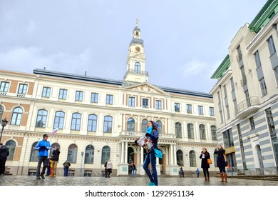 Riga, Latvia - 11.02.2014: Riga City Council is the government of Riga City, the capital of Latvia. It is located in the Riga Town Hall at the Town Hall Square in the very heart of the city