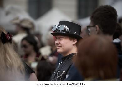 Riga, Latvia - 11.05.2019 - Boy with steampunk glasses