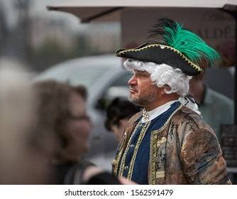 Riga, Latvia - 11.05.2019 Man in medieval dress. Male in Medieval clothing