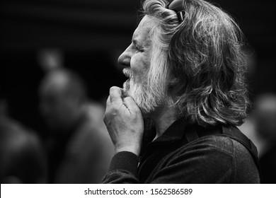 Riga, Latvia - 11.05.2019 Old man thinking about...