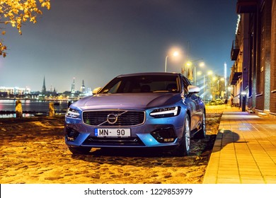 Riga, Latvia 14 November 2018, Volvo S90  R-Design Luxury Sports Sedan