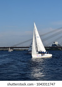 Riga, Latvia, 15 July, 2015. Yacht class Platu 25 training for the competition.