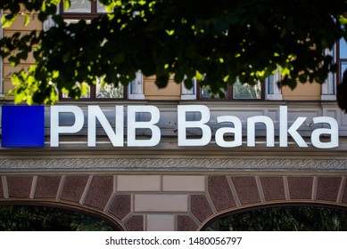RIGA, LATVIA. 16th August, 2019. PNB Bank (formerly known as Norvik Bank). PNB Bank shut down after European Central Bank (ECB) announcment.