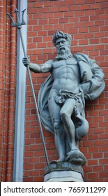 RIGA LATVIA 17 09 2015: Gods Statues at the famous House of the Blackheads. The original building was erected during the first third of the 14th century for the Brotherhood of Blackheads