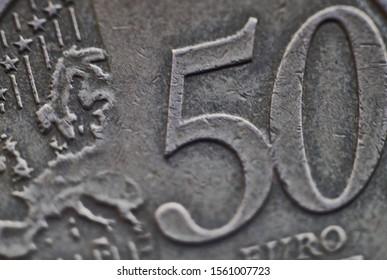 Riga, Latvia - 17.11.2018 50 eurocent coin macro