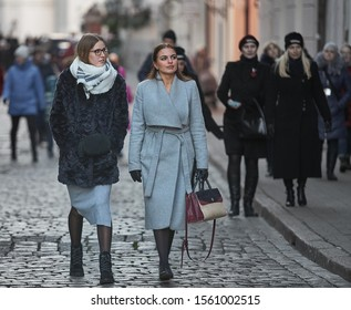 Riga, Latvia - 17.11.2018 Two young womans at street of Riga