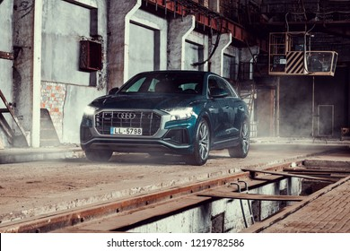 Riga, Latvia 2 November 2018 New AUDI Q8 50tdi in factory industrial landscape