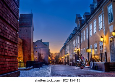 Riga, Latvia, 2017 december: Decorated and illuminated Christmas street of Old Town at night