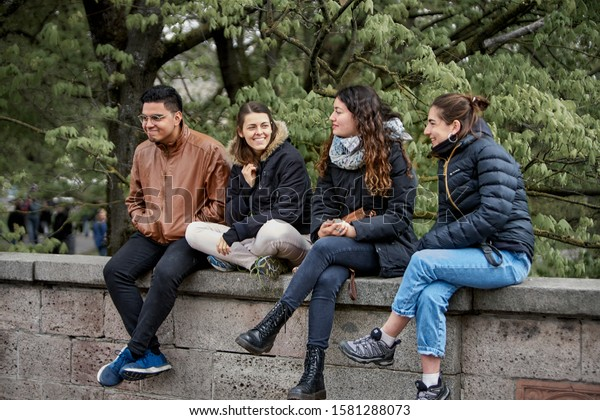 Riga, Latvia -2019 Group of friends hanging out