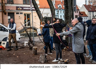 Riga, Latvia - 2019 Young archer training with the bow.