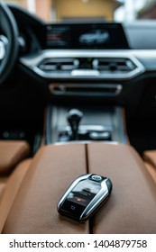 Riga, Latvia 22 May 2019- Bmw X5 M  package G05 in withe color. New Gearbox transmission with dashboard. Close up view to Digital BMW connect Key