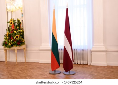 RIGA, LATVIA. 23rd of July, 2019. Arrival of President of Lithuania Gitanas Nausėda to Riga Castle and signing the guestbook.