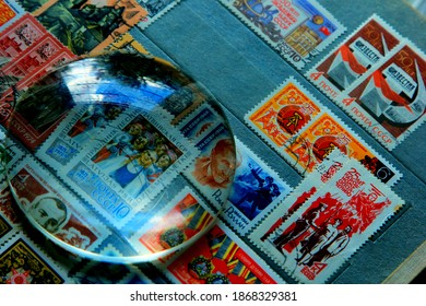 Riga, Latvia, 27 july, 2018: An old collection of stamps from different countries in the album