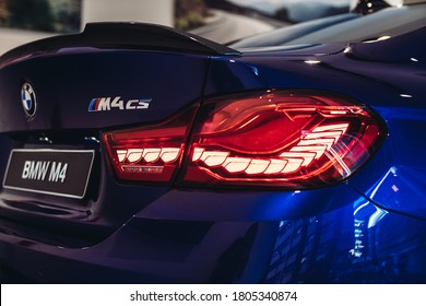 Riga, Latvia 30 August 2020, BMW M4 CS unique high-performance automobiles Sporty dynamics of the highest level. Rear look to Guiding light  organic light-emiting diodes (OLED). 3D light animation.