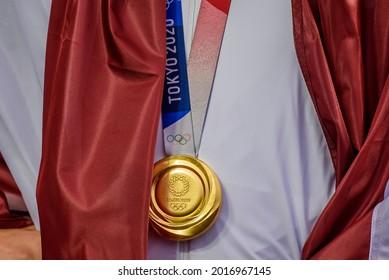 RIGA, LATVIA. 30th July 2021. Latvian 3x3 basketball team, Tokyo Olympics gold medalists arrives at Riga International Airport