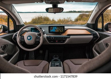 Riga, Latvia 4 September 2018 New BMW i3s Electric interior dashboard view