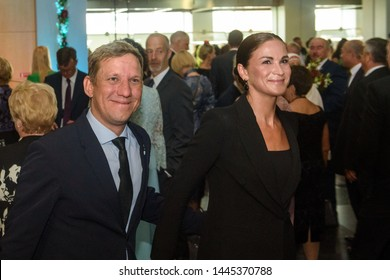 RIGA, LATVIA. 8th of July 2019. Arturs Skrastins an actor  and Ilze Kuzule Skrastina, actress of Daile theatre Reception in honour of the inauguration of Egils Levits, President of Latvia