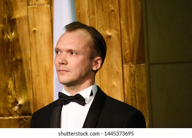 RIGA, LATVIA. 8th of July 2019. Arturs Kruzkops, the host of the event and actor, during Reception in honour of the inauguration of President of Latvia Mr Egils Levits.