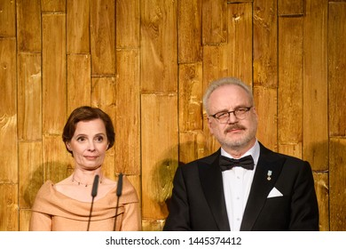 RIGA, LATVIA. 8th of July 2019. Andra Levite and Egils Levits, during Reception in honour of the inauguration of President of Latvia Mr Egils Levits.