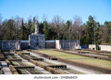 Riga, Latvia - April 1, 2021: European Heritage Day. The Riga Brethren Cemetery - Latvian memorial ensemble dedicated to the soldiers who fell during World War I and the Latvian Freedom Fights.