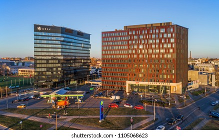 RIGA, LATVIA - APRIL 11, 2018: Former AB LV bank, Rietumu bank and Eleven office buildings in Riga, Skanste district business cluster