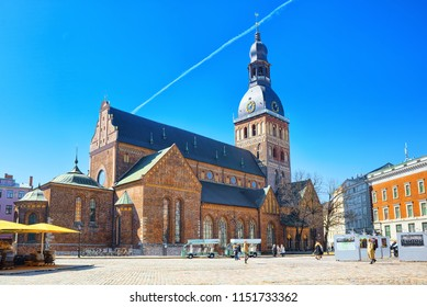 Riga, Latvia - April 12, 2018: Dome Cathedral (Riga Dome). Medieval Lutheran church with elements of Romanesque architecture, early Gothic and baroque styles.