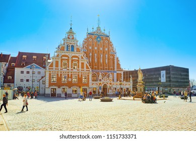 Riga, Latvia - April 12, 2018:  House of Blackheads (Melngalvju nams) is a monument of architecture of the XIV century, one of the main sights of Riga. Located on the Town Hall Square.