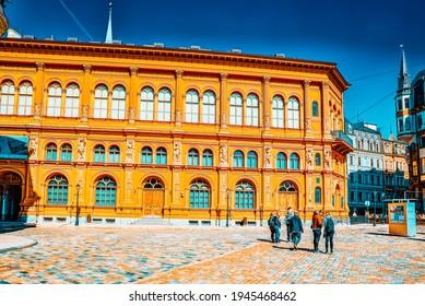 Riga, Latvia - April 12, 2018: Riga Stock Exchange (Rigas Birza, Makslas muzejs) near Dome Square (Doma laukums).