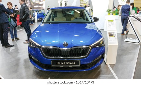 "Riga, Latvia, April 12,2019. Metallic blue all new Skoda Scala at International Motor Show ""Auto 2019"". Skoda Scala is small family car based on the concept Vision RS of Czech automaker Skoda Auto"