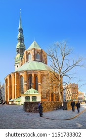 Riga, Latvia - April 13, 2018: Church of St. Peter (St. Peter's Church, Petrikirche) is one of the symbols and one of the main sights of the city of Riga.