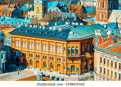 Riga, Latvia - April 13, 2018: Riga Stock Exchange (Rigas Birza, Makslas muzejs) near Dome Square (Doma laukums).
