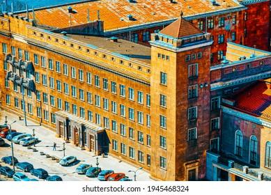 Riga, Latvia - April 13, 2018:  Riga Technical University (Rigas Tehniska universitate) near Dome Square (Doma laukums).