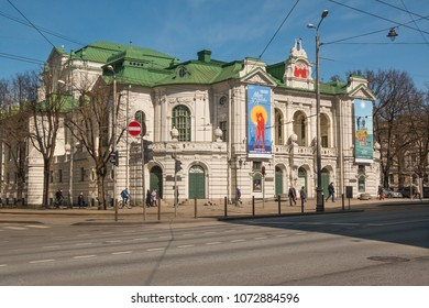 Riga. Latvia. April 18, 2018. Latvian National Theatre is an old building in the Riga.