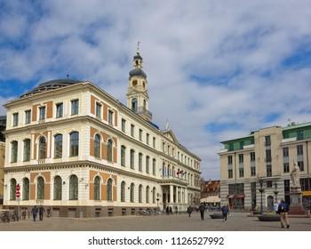 Riga, Latvia - April 19, 2018: Riga City Hall, which is government building of Latvia