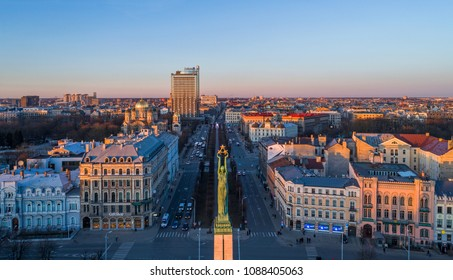 RIGA, LATVIA - APRIL 25, 2018: Drone perspective view to Brivibas boulevard and Liberty monument