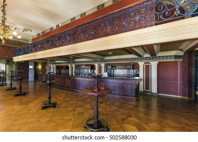 Riga, Latvia - April 30, 2016: Interior of the Latvian National Opera House in Riga, Latvia. The National Opera House was constructed in 1863 by the St. Petersburg architect Ludwig Bohnstedt.