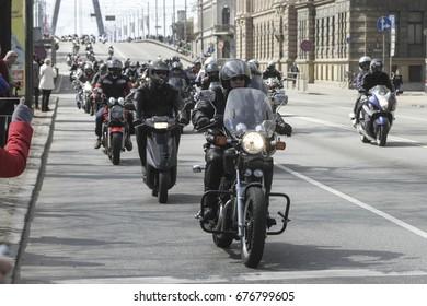 Riga, LATVIA - April 30, 2016: Motorcycles at the opening of the biker season in Riga, capital of Latvia
