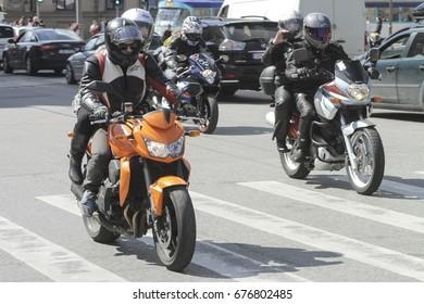 Riga, Latvia - April 30, 2016: Motorcycles at the opening of the biker season in Riga, Latvia