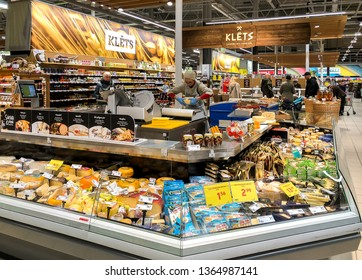 Riga, Latvia - April 5, 2019: Interior of a Maxima food supermarket in Riga, Latvia
