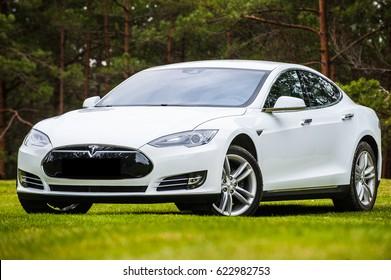 Riga, Latvia. April 7, 2017 year. Tesla Model S 90D on grass