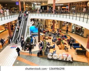 Riga, Latvia - April 7, 2019: People visiting the Spice shopping center in Riga, Latvia