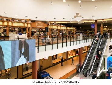 Riga, Latvia - April 7, 2019: The restaurant LIDO offers fast-food and a bakery inside of the Spice shopping center in Riga, Latvia