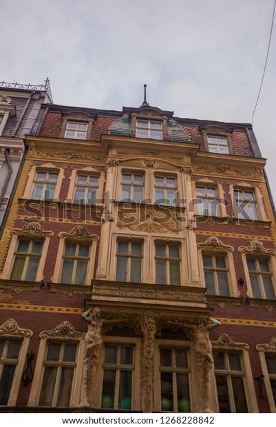 Riga Latvia Art Nouveau Architecture Riga Royalty Free
