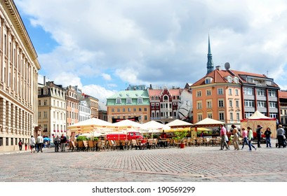RIGA, LATVIA - AUGUST 11: Cobbled city square on August 11, 2012 in Riga, Latvia.